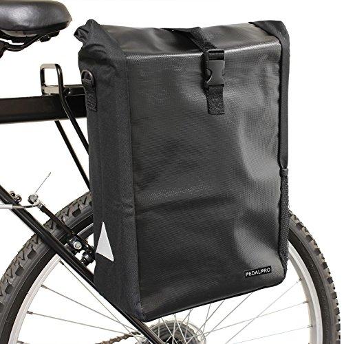 PedalPro Wasserdichte Einzel Fahrradtasche für Gepäcktärger hinten mit Schulterriemen - Schwarz