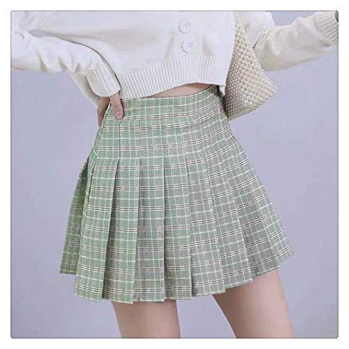 FKJSP XS-3XL - Falda para mujer, estilo preppy de cintura alta, con costuras elegantes, falda plisada para estudiantes de verano, falda plisada para mujer (color: color verde guisante, talla: XL)