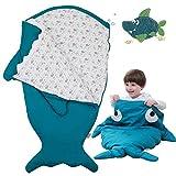 Bospyaf Saco De Dormir para Bebé Tiburón Antipatadas, Multifunción, Manta Universal De Algodón para Bebé, Ropa De Cama para Recién Nacidos (Grande),Verde