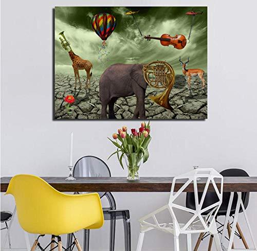 AJBB Elephant Deer Poster, Tier Wandkunst Drucke Poster Trompete Gemälde Leinwand Gedruckt, Für Wohnzimmer Wohnkultur Kein Frame-30 * 40 cm