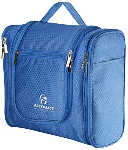 Hanging Toiletry Bag Extra Large Capacity | Premium Travel Organizer Bags For Men And Women | Durable Waterproof Nylon Bathroom, Shower, Makeup Bag For Toiletries, Brushes, Shampoo (Sky Blue)