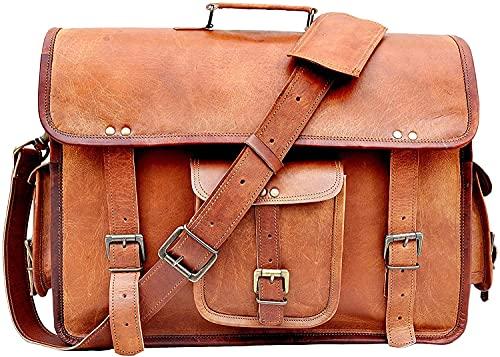 Bagsifi Genune Handmade Goat Leather Messenger Briefcase Office Satchel Unisex Distressed Bag|Laptop Bag|Shoulder Bag Unisex (18 Inch)