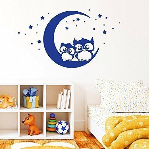 """Wandtattoo-Loft Stickers Muraux """" Deux Mignonne Hiboux sur Une Lune """" - Sticker Mural avec Chouettes Sticker Mural Sticker Mural / 49 Couleurs / 4 Tailles - Bleu Clair, 55 x 96 cm"""