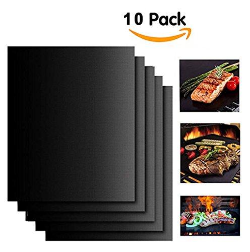 Set De 10 Tapis De Cuisson Tapis BBQ Barbecue Plaque Feuille De Cuisson Four 40 * 33Cm Pour Barbecue Gaz Charbon Électrique 100% Anti-Adhérent,Black