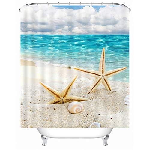 X-Labor Strand Motiv Duschvorhang Wasserdicht Stoff Anti-Schimmel inkl. 12 Duschvorhangringe Waschbar Badewannevorhang 240x200cm Muster-B
