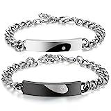 JewelryWe Schmuck EIN Paar Love Herz Armband mit Gravur Edelstahl Bicolor Armbänder, schwarz Silber partnerarmband mit Zirkonia für Lieben Partner