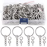 Swpeet 450Pcs 1' 25mm Sliver Key Chain Rings Kit, Including 150Pcs Keychain Rings with Chain and 150Pcs Jump Ring with 150Pcs Screw Eye Pins Bulk - Plastic Box or Cardboard Box Random Shipments