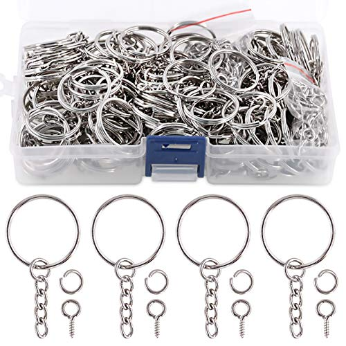 Swpeet 450Pcs 1' 25mm Sliver Key Chain Rings Kit, Including 150Pcs Keychain...