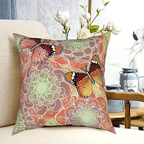 SFDGBTH Funda de Almohada Decorativa de obsesión de Mariposa, 18 x 18 Pulgadas, cojín de Lino Cubierta de Almohada Cuadrada, Adecuada para la decoración del hogar del sofá de Coche