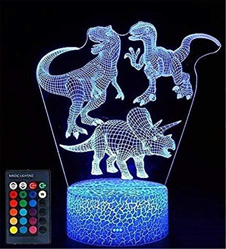 3D ilusión LampDinosaur LED Luz de noche 16 colores cambiando con control remoto, cumpleaños y día festivo, regalo para niños y niñas