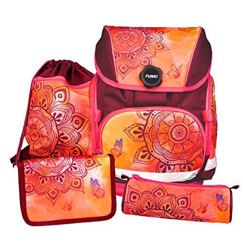 Schulrucksack Set, 4-teilig von FUNKI, Grundschul-Starter-Set für Mädchen und Jungen, Komplett-Set aus Schultasche, Etui, Rundbeutel und Turnbeutel mit Mandalamotiv, Polyester, FUNKI Joy-Bag Mandala