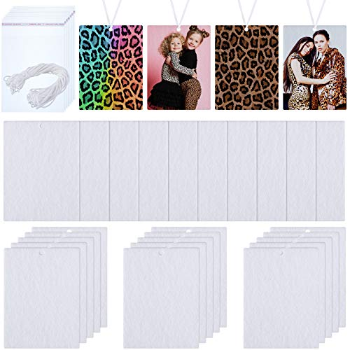 150 Pieces Sublimation Air Freshener Blanks Car Hanging Sheets Air Freshener Sheets Felt Air Freshener Rectangle Fragrant Sheets with Elastic Rope and 200 Pieces Bags for Car Interior Decoration