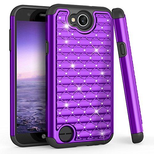 TILL for LG X Charge Case, LG Fiesta LTE/LG K10Power Cute Case, TILL Studded Rhinestone Bling Diamond Sparkly Luxury Shock Absorbing Hybrid Defender Rugged Glitter Case Cover for LG X Power 2 [Purple]