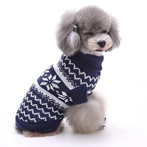 GWELL Hund Hundepullover Hundepulli Winter Strickpullover Sweater Cardigan Weihnachten Fasching Kostüme für kleinen großen Hund Katze Schneeflocke Blau XXL