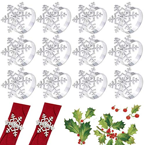 Ioffersuper Set of 12 Christmas Snowflake Rhinestone Napkin Ring Holders for Xmas Party Dinner Accessory, Banquet Table Decoration