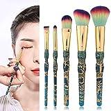 Yuyanshop Juego de 5 brochas de maquillaje, juego de brochas de maquillaje, maquillaje de base, corrector, sombra de ojos resalte cepillo cosmético 5 diseños