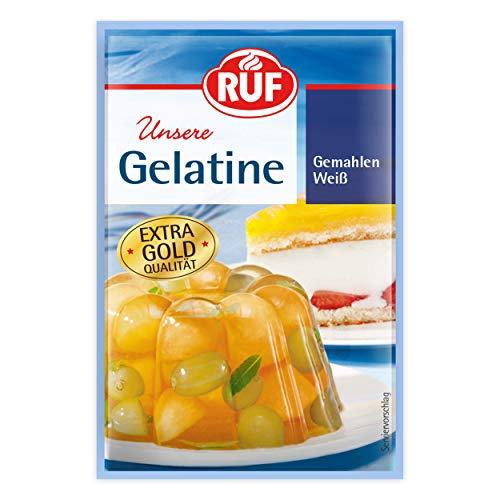 RUF Gelatine weiß gemahlen extra gold Qualität wie 6 Blatt Gelatine, 14er Pack (14 x 3 x 9 g)