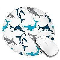 サメ マウスパッド 丸型 20cm 滑り止め 防水 おしゃれ 洗える ビジネス用 家庭用 ゲーム用