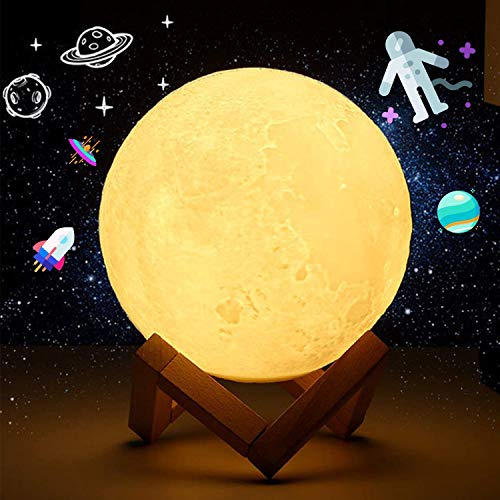 3D Moon Lamp 18cm Large Rechargeable Lunar Night 16 LED Colors Light with Wooden Stand Decor Bedroom Bedside Gift Idea for Christmas Birthday