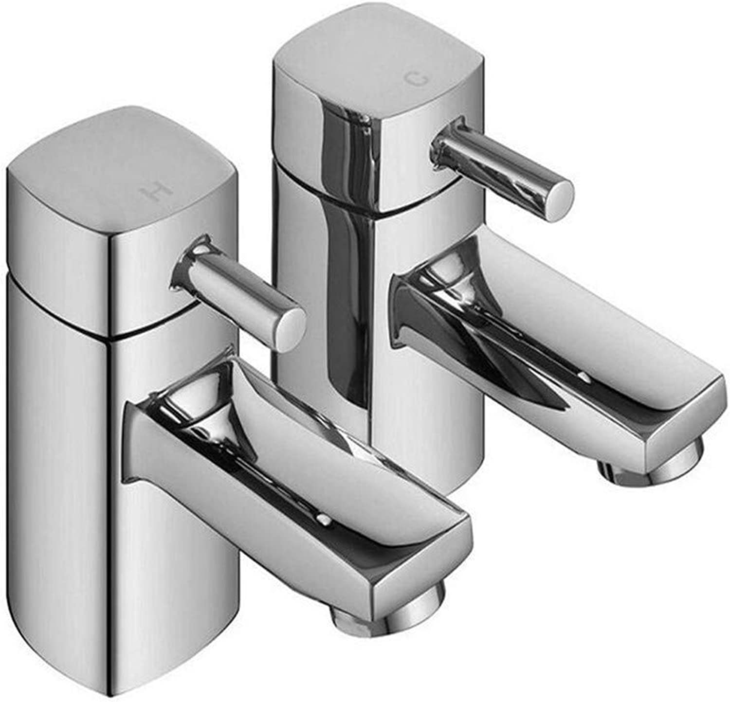 Retro Kitchen Hot and Cold Water 360 Degree redation Hot and Cold Twin Basin Taps Square Designer Brass New Chrome Cloakroom