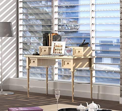 casamia Schreibtisch mit Aufsatz 4 Schubkästen Pinie massiv Farbe Pinie Vintage