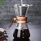 Pour Over Coffee Maker, BicycleStore Paperless Glass Carafe with Stainless Steel Filter Reusable Glass Coffee Pot Manual Coffee Dripper Brewer Hand Drip with Wood Sleeve for Home Travel (600ml)