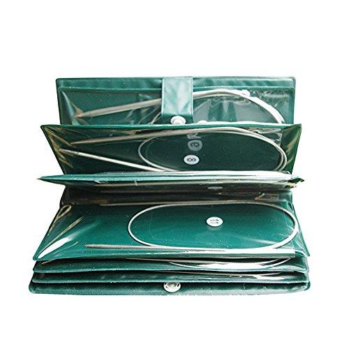 Circulares de ganchillo de acero inoxidable(11 Pcs),agujas profesionales de ganchillo 80 cm,agujas en diferentes tamaños 1.5 mm hasta 5.0 mm. (L)