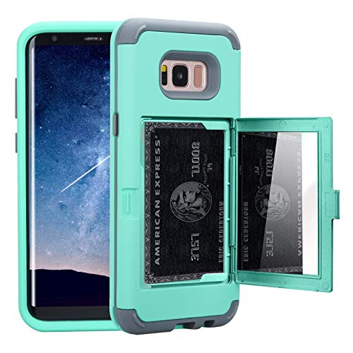 NOKEA Galaxy S8 Case, Wallet Case Card Slot Holder with Hidden Hidden Back Mirror Design 3 in 1 Hard PC Silicone Shockproof Heavy Duty High Impact Armor Case for Samsung Galaxy S8 (2017) (Mint)