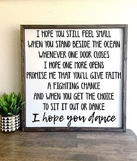 CELYCASY I Hope You Dance   Framed Wood Sign