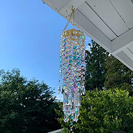 Blue Aurora Crystal Wind Chimes Glass Hanging Ornament Home Garden Decoration