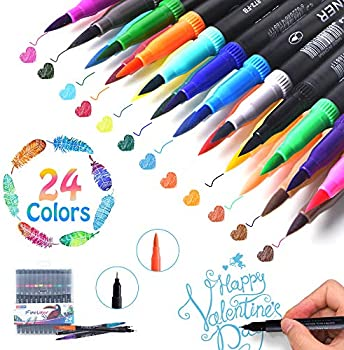 24-Count The Isightguard Brush Tips & Colored Fine Point Pen Set