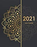 2021 Daily Planner: 2021 Planner Journal, 2021 Daily Journal, Daily Calendar Book, 2021 Planner Weekly and Monthly January to December, Golden Mandala