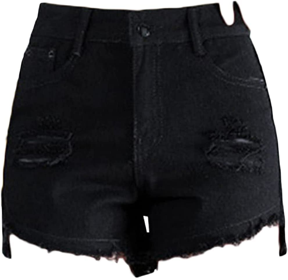 Irregular Frayed Jean Shorts for Women Summer Ripped Raw Hem Destroyed Short Jeans Casual High Waisted Holes Jean Shorts (Black,X-Large)