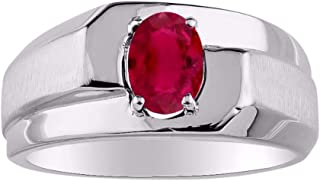 RYLOS Mens Ring with Oval Shape Solitaire Gemstone in Sterling Silver .925-7X5MM Color Stone Birthstone Rings