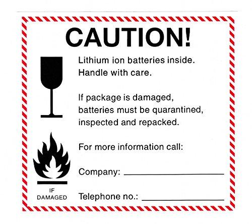 100 stuks transportstickers lithium-ionen-accu/waarschuwingsstickers/pakketsticker/instructie-sticker/waarschuwingsetiket voor lithium-ionen-accu - 100 stuks