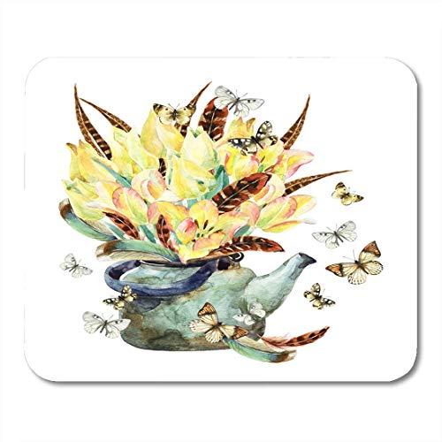 Mauspads aquarell blumengarten mit tulpenfedern schmetterling und teekanne romantische blumen in rostigem kessel mauspad für notebooks, Desktop-computer mausmatten