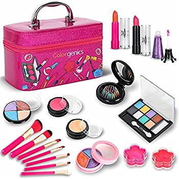 Colorgenics Washable Makeup Toy Set for Girls - Real Make Up Kit for Kids Princess Play Makeup Set for 5 6 7 8 9 10 Years Old Beauty Gift Set for Birthday Christmas with Reusable Cosmetic Case