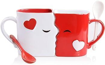 Juego de Tazas de Besos | Exquisitamente Confeccionadas Dos Tazas Grandes, 1 Roja, 1 Blanca, Con Cucharas a Juego | Hermosamente Empaquetadas para Regalo de Navidad, Aniversarios, San Valentín