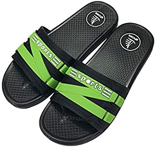 Home Slippers Summer Personality Casual Soft Bottom Slip Wear-Resistant Fashion Sandals and Slippers Men's (Color : Green, Size : 42EU)