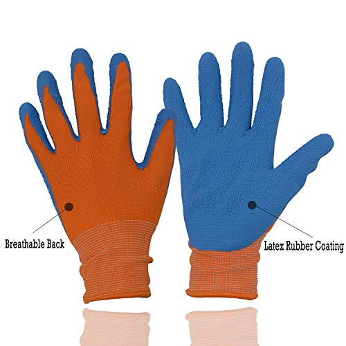 Kids Gardening Gripper Gloves for age 3-13, 2 Pairs Foam Rubber Coated Garden Gloves for girls boys (Size 3 (age 5-6))