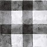 RoomMates Black Buffalo Plaid Peel and Stick Wallpaper