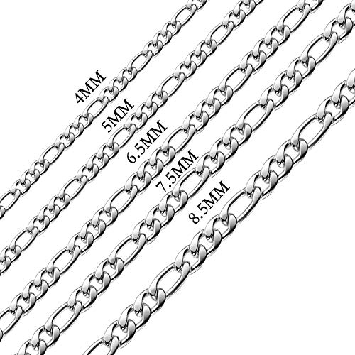 16 Inches Figaro Chain Necklace 4MM Stainless Steel Figaro Link Chain for Men Women