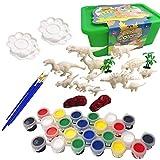 WANGCY Kit de Pintura de Dinosaurios para niños Figuras de Dinosaurios para Pintar en 3D con Pintura de Acuarela Pinceles y Platos Artesanía Graffiti Toys Set Cumpleaños para niños Niños Niñas