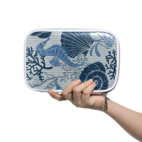 Sac de maquillage pour femmes Sea Seamless Seashell Seahorse Coral Pen Pouch Bag Travel Pencil Case Multifunctional Makeup Case For Kids For Men Women