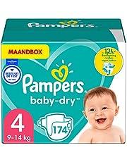 Pampers Maat 4 Luiers (9-14 kg), Baby-Dry, 174 Stuks, MAANDBOX, Tot 12 uur Bescherming rondom tegen Lekken