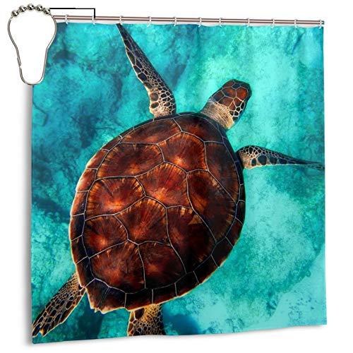 PQASDC Cortina de ducha eficiente de secado rápido para baño, cortina de ducha decorativa de 182 x 182 cm, juego de cortina con 12 ganchos, decoración para baño, tortuga de mar, buceo en primer plano