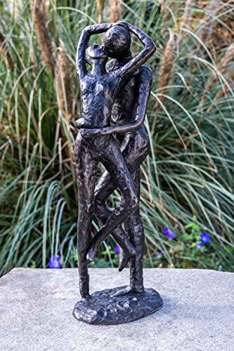 IDYL Bronze-Skulptur Küssendes Paar | 54x15x18 cm | Moderne Bronze-Figur handgefertigt | Gartenskulptur - Wohnbereich-Dekoration | Hochwertiges Kunsthandwerk | Wetterfest