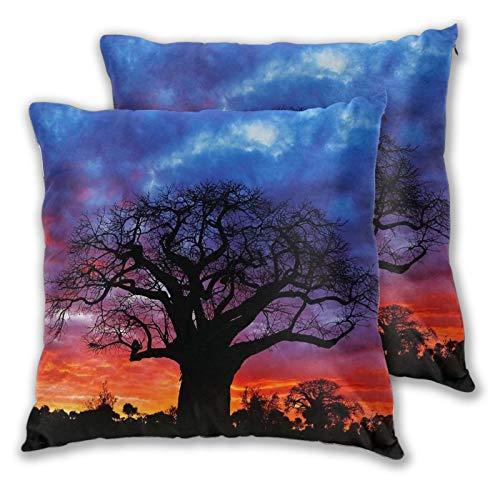 KCOUU Funda de cojín de microfibra suave decorativa con diseño de árbol de baobab africano para sofá dormitorio con cremallera invisible, juego de 2 unidades