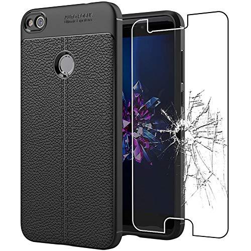 ebestStar - Funda Compatible con Huawei P8 Lite (2017) Carcasa Silicona Gel, Protección Diseño Cuero Ultra Slim Case, Negro + Cristal Templado Protector [Aparato: 147.2 x 72.9 x 7.6mm, 5.2'']