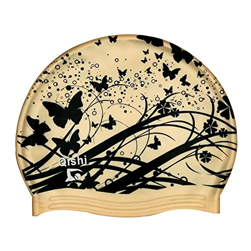 Qishi Gold Butterfly Printing Silicone Swimming Caps for Women